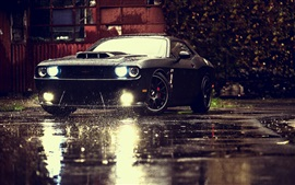 Preview wallpaper Dodge Challenger SRT black muscle car, rain