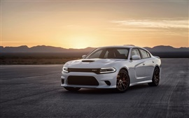 Preview wallpaper Dodge Charger SRT white car, sunset