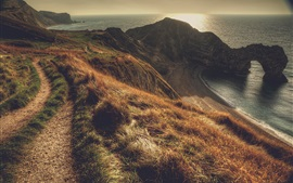 Preview wallpaper Durdle Door, Dorset, South West England, grass, coast, dusk
