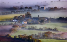 Preview wallpaper England, morning, houses, fields, trees, fog