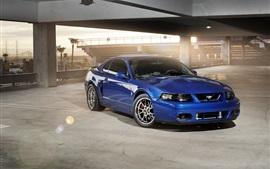Preview wallpaper Ford Mustang blue car, building, sunlight
