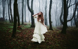 Forest, white dress girl, morning fog Wallpapers Pictures Photos Images