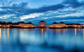 Германия, Бавария, Мюнхен, город, река, замок, синий, ночь