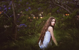 Girl in the grass, long hair, look, nature