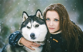 Preview wallpaper Girl with dog, winter