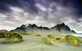 Preview wallpaper Iceland, nature scenery, mountains, clouds, spring