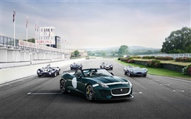 Preview wallpaper Jaguar F-Type Project 7 retro car at track