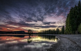 Preview wallpaper Lake, sunset, dusk, trees, sky, clouds