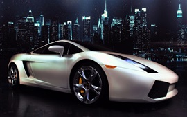 Preview wallpaper Lamborghini Gallardo white supercar side view, city, night