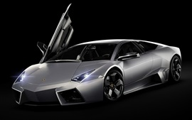 Preview wallpaper Lamborghini Reventon supercar, front, black background