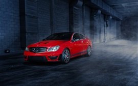 Preview wallpaper Mercedes-Benz C63 507 Edition red car