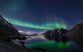 Norway, Lofoten Islands, northern lights, night, sea Wallpapers Pictures Photos Images