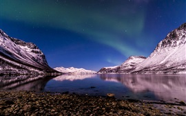 Preview wallpaper Norway, northern lights, winter, night, Tromso Fjord