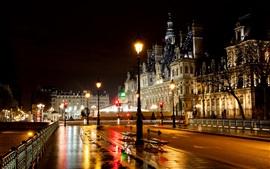 Aperçu fond d'écran Paris, France, hôtel, ville, rue, nuit, route, feux