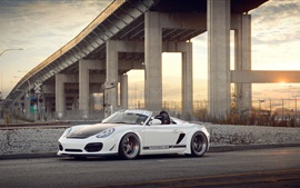 Preview wallpaper Porsche Boxster Spyder white supercar side view