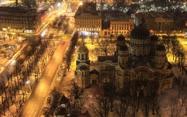 Preview wallpaper Riga, Latvia, city night, buildings, road, lights