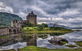 Preview wallpaper Scotland, river, bridge, castle, grass, rocks, clouds