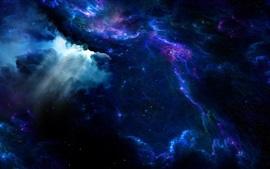 Космическая, фантастика, арт, туманность, атмосфера, свечение, звезды, синий