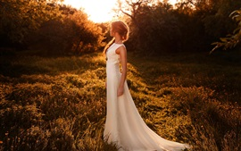 Pôr do sol, menina, figura, vestido, luz solar