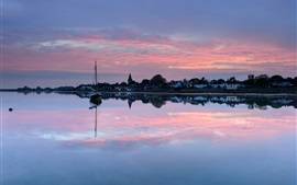Preview wallpaper UK, England, town, evening, sunset, houses, lake, boat, water