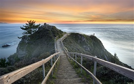 Estados Unidos, Califórnia, Mill Valley, pôr do sol, mar, escadas