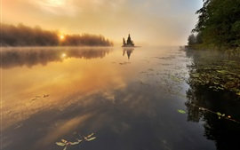 Vuoksi River, Russia, autumn, trees, sunrise, mist