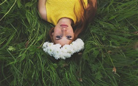 Preview wallpaper Wonderful picture, beautiful girl, flowers, wreath, grass