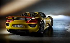 Preview wallpaper 2015 Porsche 918 Spyder supercar back view
