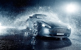 Aston Martin V8 Vantage car in rain