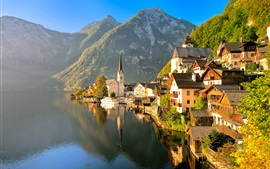 Preview wallpaper Austria, Hallstatt, Salzkammergut, autumn, house, lake, mountains, sunlight