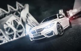BMW M4 Coupe F82 carro branco front view