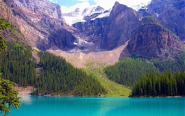 Preview wallpaper Banff National Park, Alberta, Canada, lake, mountains, trees