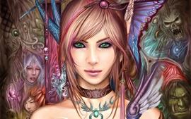 Preview wallpaper Beautiful fantasy girl, green eyes, brown hair