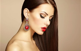 Preview wallpaper Beautiful makeup girl, earring, fashion