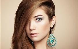 Beautiful young girl, Jewelry and accessories, perfect makeup