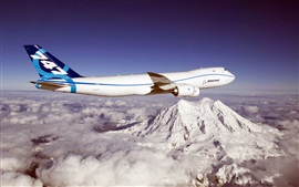 Blue sky, Boeing 747 aircraft, mountains, clouds