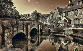 Preview wallpaper Castle Combe, Wiltshire, England, bridge, river, dusk