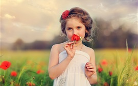 Preview wallpaper Child, beautiful girl, flowers