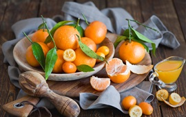 Preview wallpaper Citrus fruits, kumquats, wood board