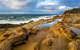 Preview wallpaper Coast, rocks, water, waves, sky, clouds