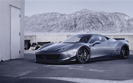 Preview wallpaper Ferrari 458 Italia supercar side view, mountains