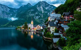 Preview wallpaper Hallstatt, Salzkammergut, Austria, mountains, evening, lake, boats, houses