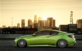 Preview wallpaper Hyundai Coupe green car side view