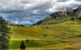 Italy, nature scenery, meadow, Alps, clouds