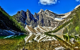 Preview wallpaper Lake Agnes, Banff National Park, Alberta, Canada, mountains, trees