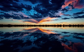 Preview wallpaper Lake, evening, sky, clouds, water reflection