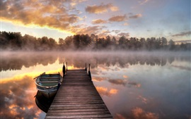 Preview wallpaper Lake, morning, fog, bridge, boat, trees, sunrise