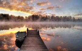 Озеро, утро, туман, мост, лодка, деревья, восход