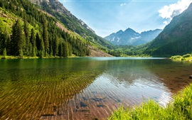 Lake, mountains, trees, grass, sky, water reflection