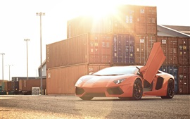 Preview wallpaper Lamborghini Aventador LP700-4 orange supercar, sun, glare